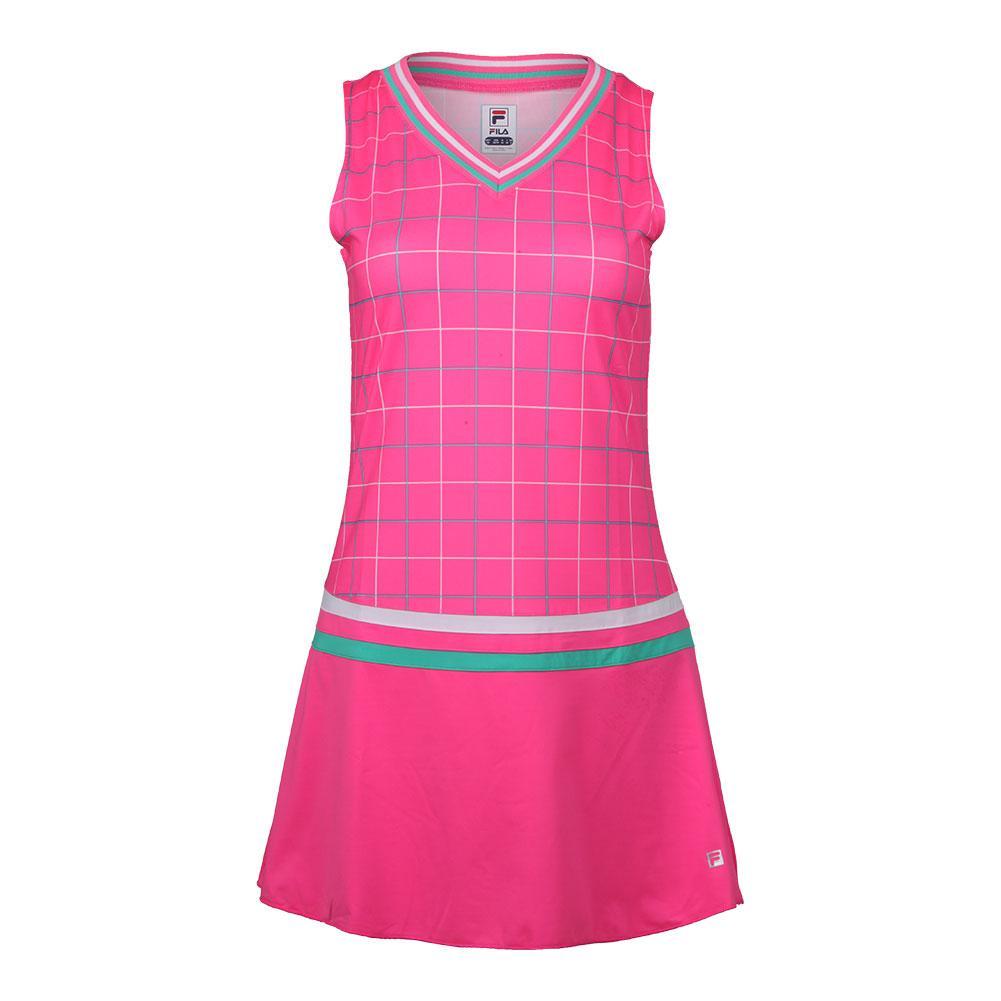 Women's Windowpane Tennis Dress Miami Pink Print