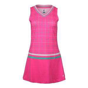 Women`s Windowpane Tennis Dress Miami Pink Print