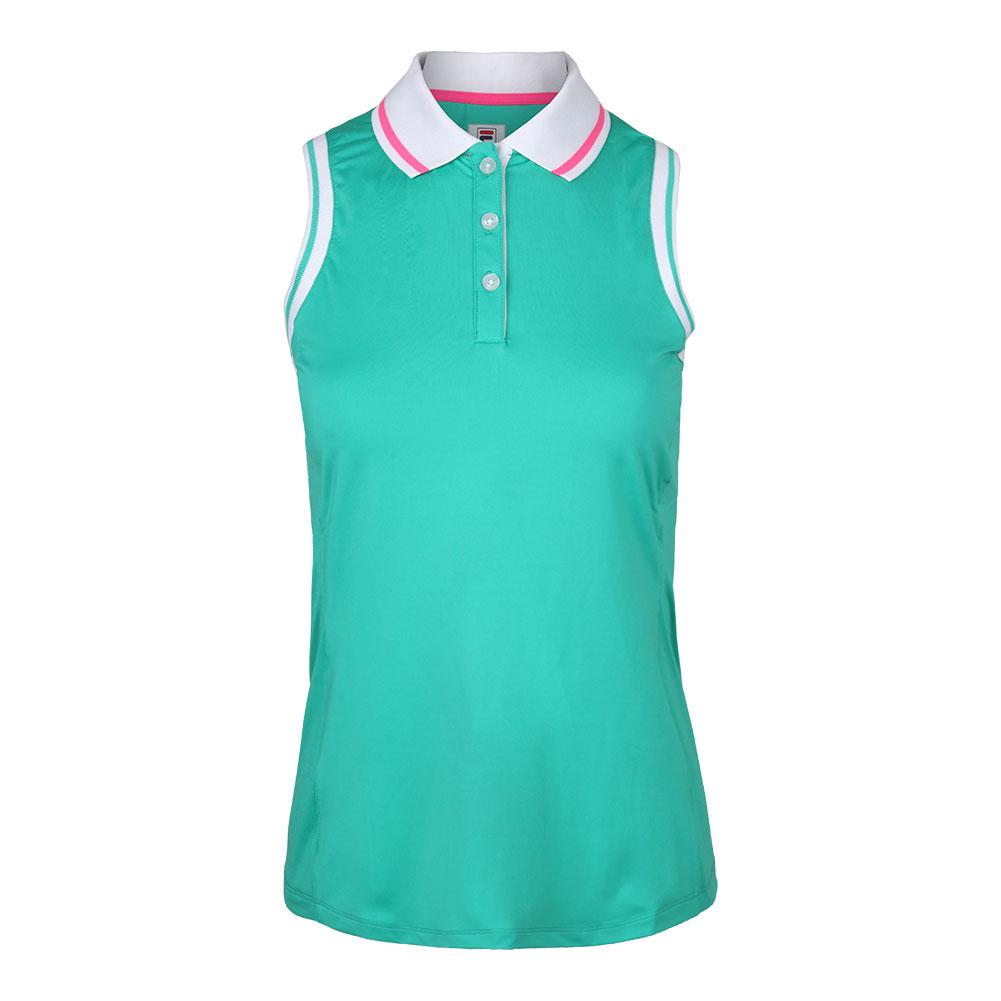 Women's Windowpane Sleeveless Tennis Polo Atlantis