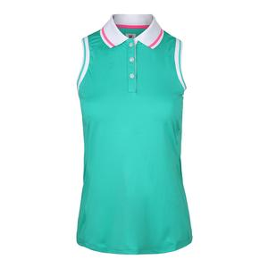 Women`s Windowpane Sleeveless Tennis Polo Atlantis