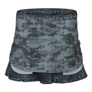 Women`s Pocket Tennis Skort Gray Camo Denim