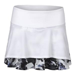 Women`s Laser Tennis Skort White and Ultraviolet Water Camo Print