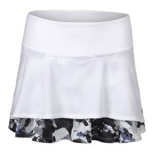 Women`s Laser Tennis Skort White and Ultraviolet Water Camo Print