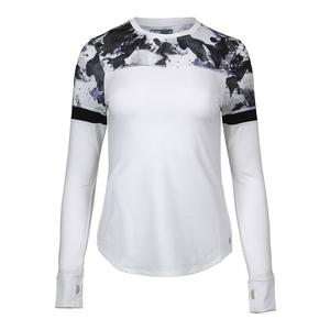 Women`s Pacer Tennis Top White and Ultraviolet Water Camo Print