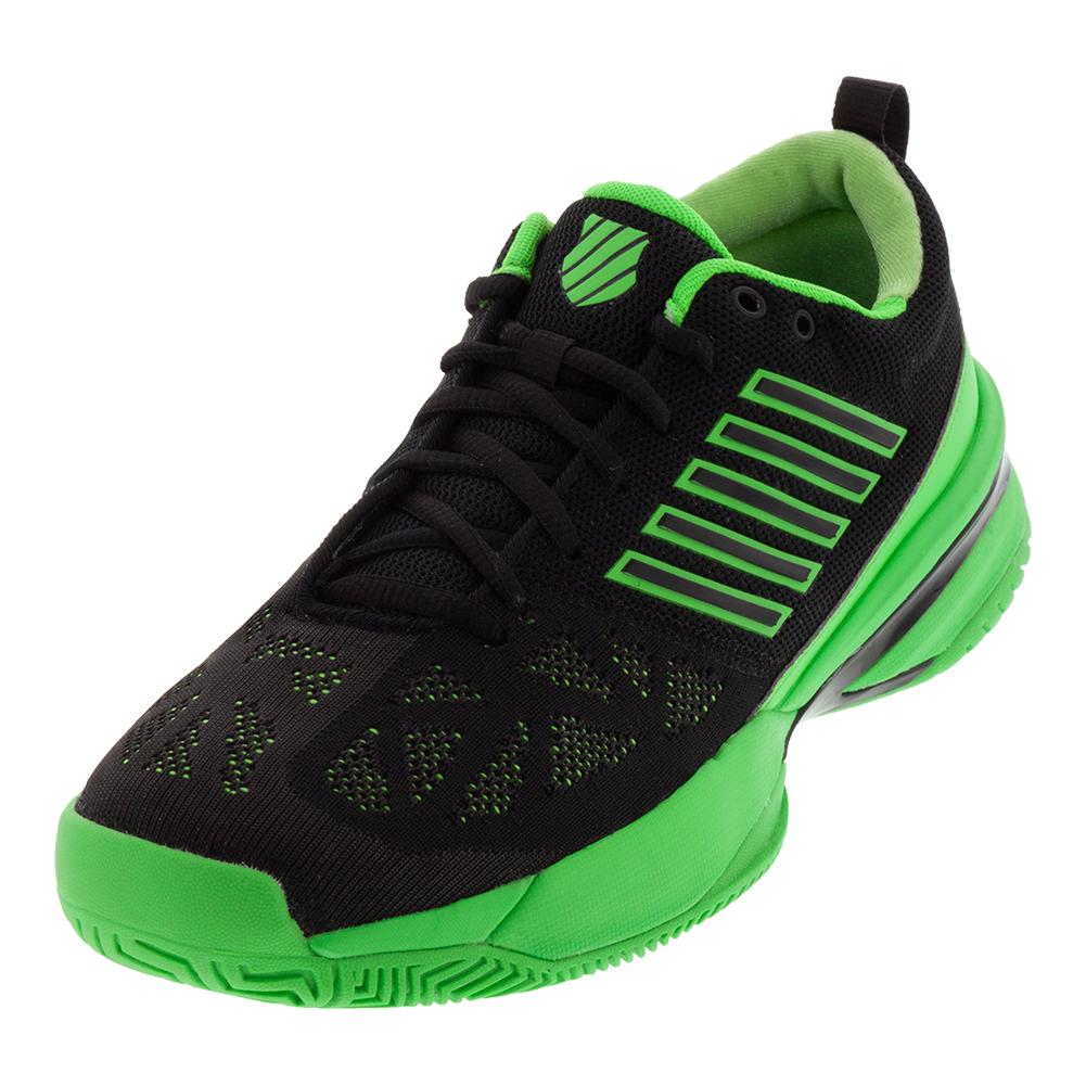 Men's Knitshot Tennis Shoes Neon Lime And Black