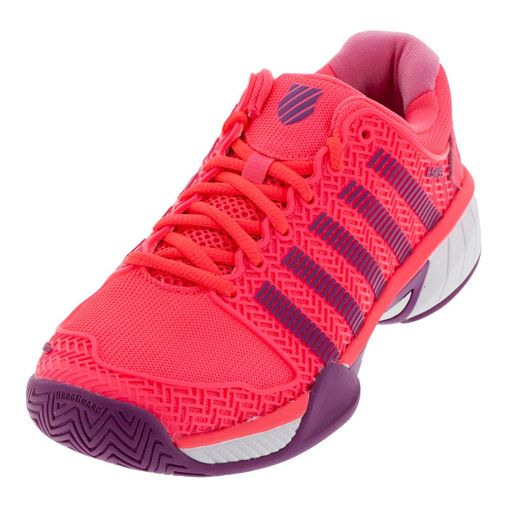 Juniors ` Hypercourt Express Tennis Shoes Neon Pink And Deep Orchid
