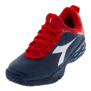 Men`s Speed Blueshield Fly AG Tennis Shoes Dark Blue and Red Capital