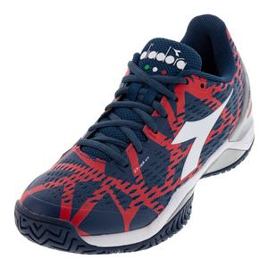 Men`s Speed Blueshield 2 Clay Tennis Shoes Dark Blue and Red Capital