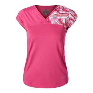 Women`s Color Burst Cap Sleeve Tennis Top Fuchsia