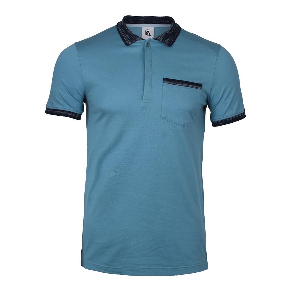 Mens Nikelab X Rf Knit Polo Blue Gray