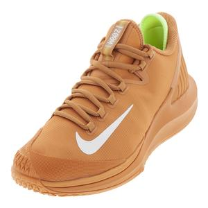 Men`s Court Air Zoom Zero Tennis Shoes Flax and White