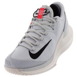 Men`s Court Air Zoom Zero QS Tennis Shoes Pure Platinum and Black