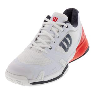 Men`s Rush Pro 2.5 Tennis Shoes White and Fiery Red