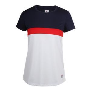 Women`s Heritage Cap Sleeve Tennis Top White and Navy