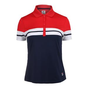 Women`s Heritage Tennis Polo Navy and Chinese Red