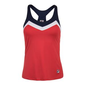 Women`s Heritage T-Back Tennis Tank Chinese Red and Navy
