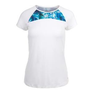 Women`s Rival Tennis Top White and Plume Print