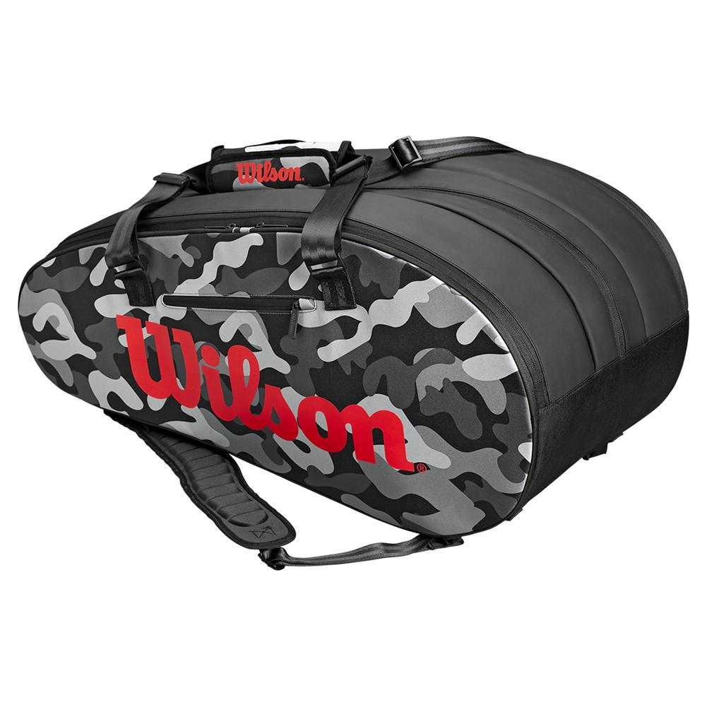 Super Tour 15 Pack Tennis Bag Gray Camo And Infrared