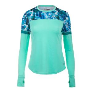 Women`s Pacer Tennis Top Aqua and Plume Print