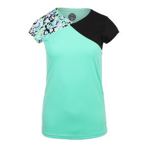 Women`s Whiplash Cap Sleeve Tennis Top Sea Foam and Black
