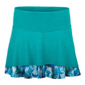 Women`s Laser Tennis Skort Peacock and Plume Print