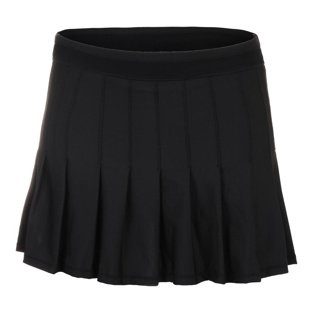 Women's Long Retro Pleated Tennis Skort Black