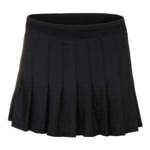 Women`s Long Retro Pleated Tennis Skort Black