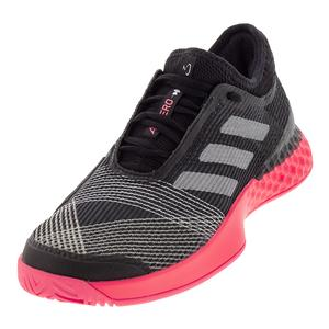Men`s Adizero Ubersonic 3 Tennis Shoes Black and Matte Silver