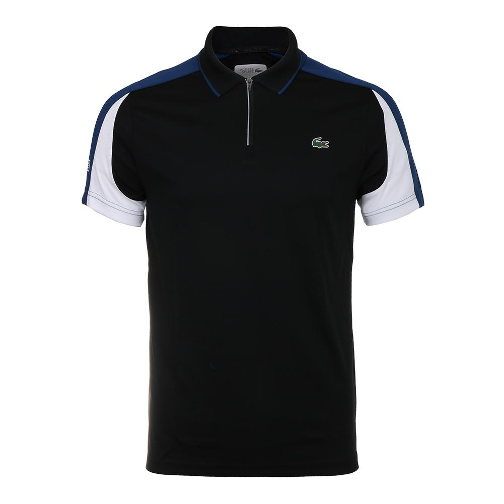 ade9d3327ed803 Men`s Ultra Dry Pique Colorblock Tennis Polo with Zip Collar  ED4 BLACK INKWELL