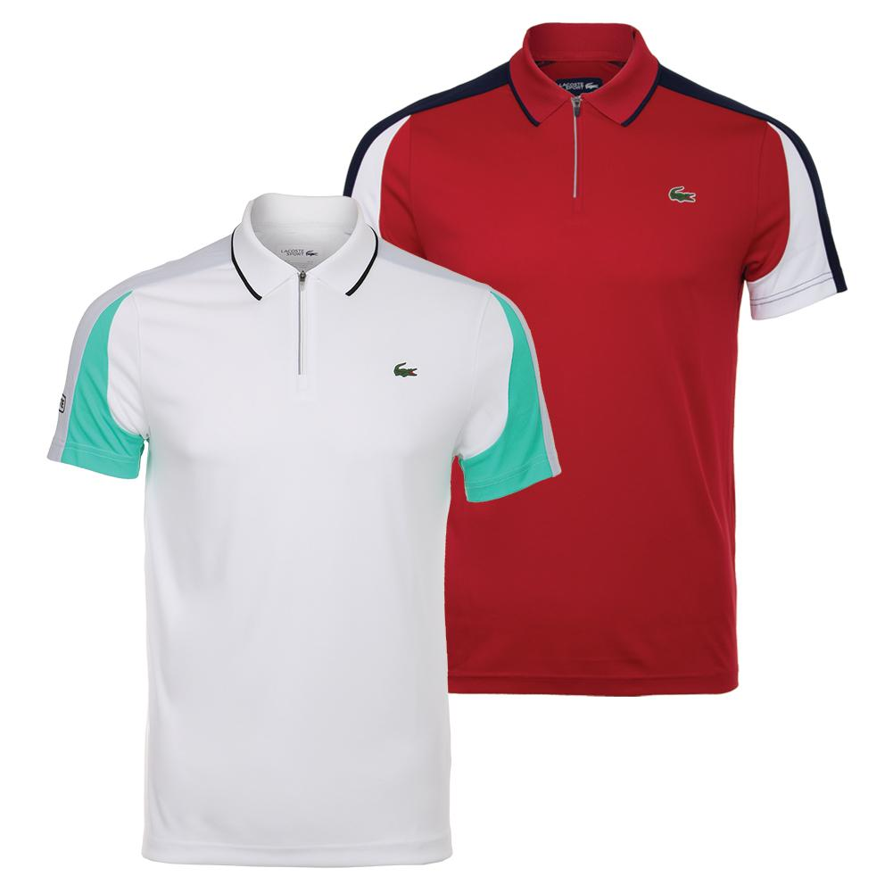 266614851 LACOSTE Men`s Ultra Dry Pique Colorblock Tennis Polo with Zip Collar ...