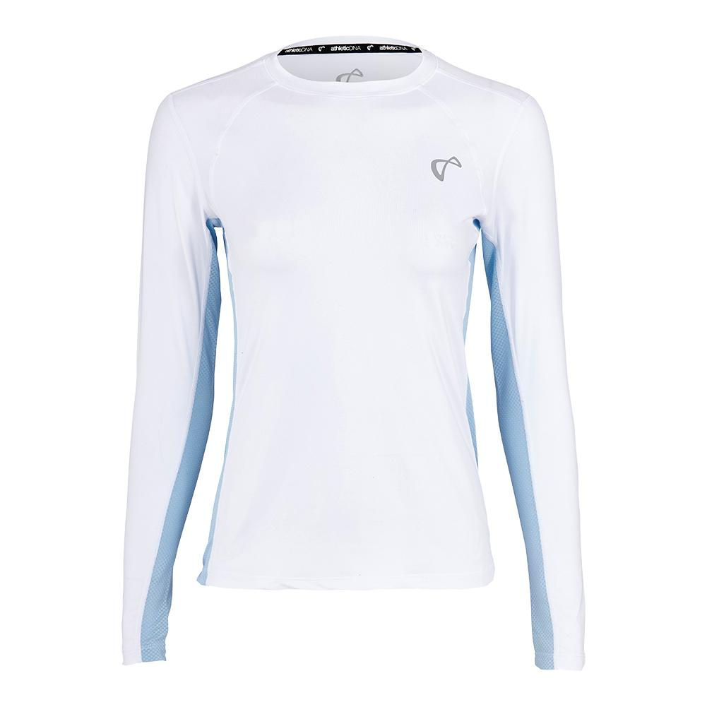 Girls ` Advantage Long Sleeve Tennis Top White And Arctic