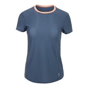 Women`s Light Short Sleeve Tennis Top Steel Blue