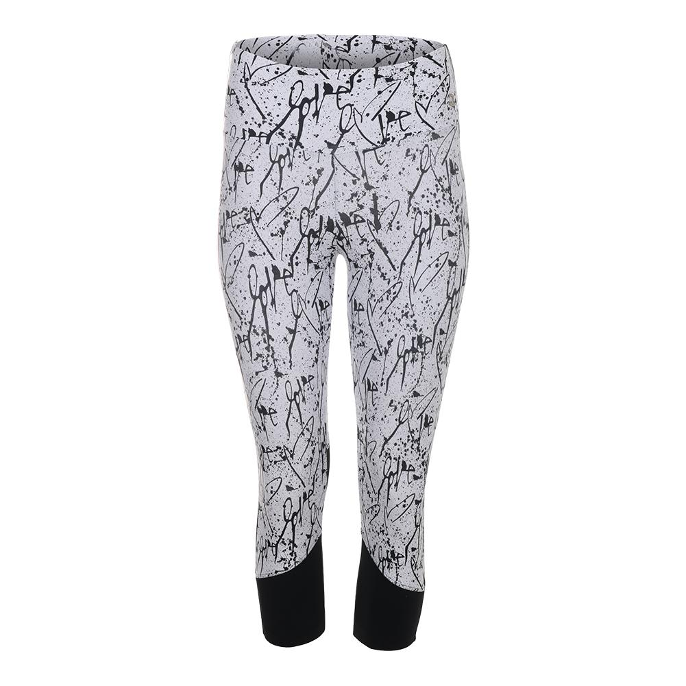 Women's Love Me Tennis Capri Print And Black