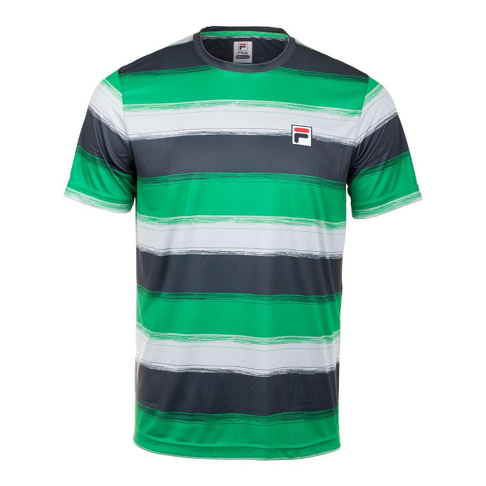Men's Legends Striped Tennis Crew Bright Green And Ebony