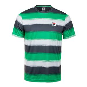 Men`s Legends Striped Tennis Crew Bright Green and Ebony
