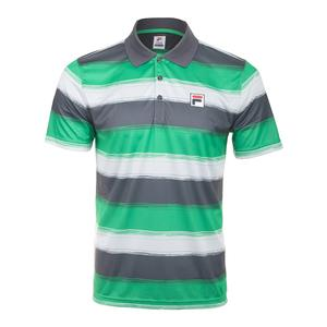 Men`s Legends Striped Tennis Polo Bright Green and Ebony