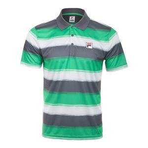 6274000dbc9 Legend Men s Tennis Apparel SALE Men`s Legends Striped Tennis Polo Bright  Green and Ebony Fila ...