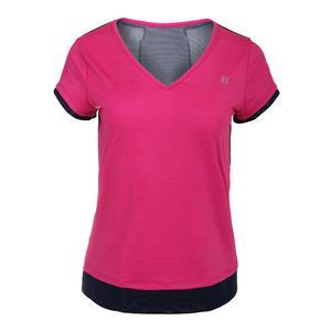 Women`s Lateral Short Sleeve Tennis Top Pink Yarrow