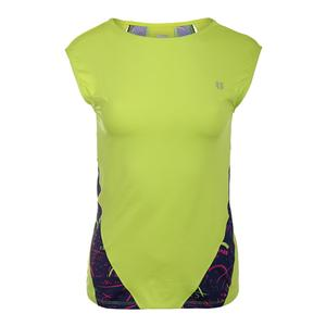 Women`s Backup Cap Sleeve Tennis Top Lime Popsicle