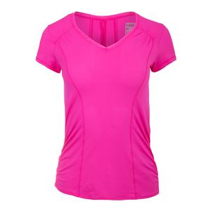 Women`s Uplift Short Sleeve Tennis Top Pink Glow