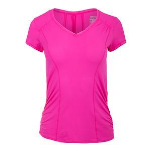 Women`s Uplift Short Sleeve Tennis Top Pink Glow