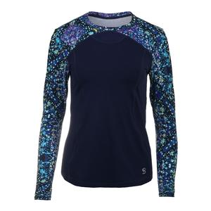 Women`s Luna Long Sleeve Tennis Top Starry Night Print