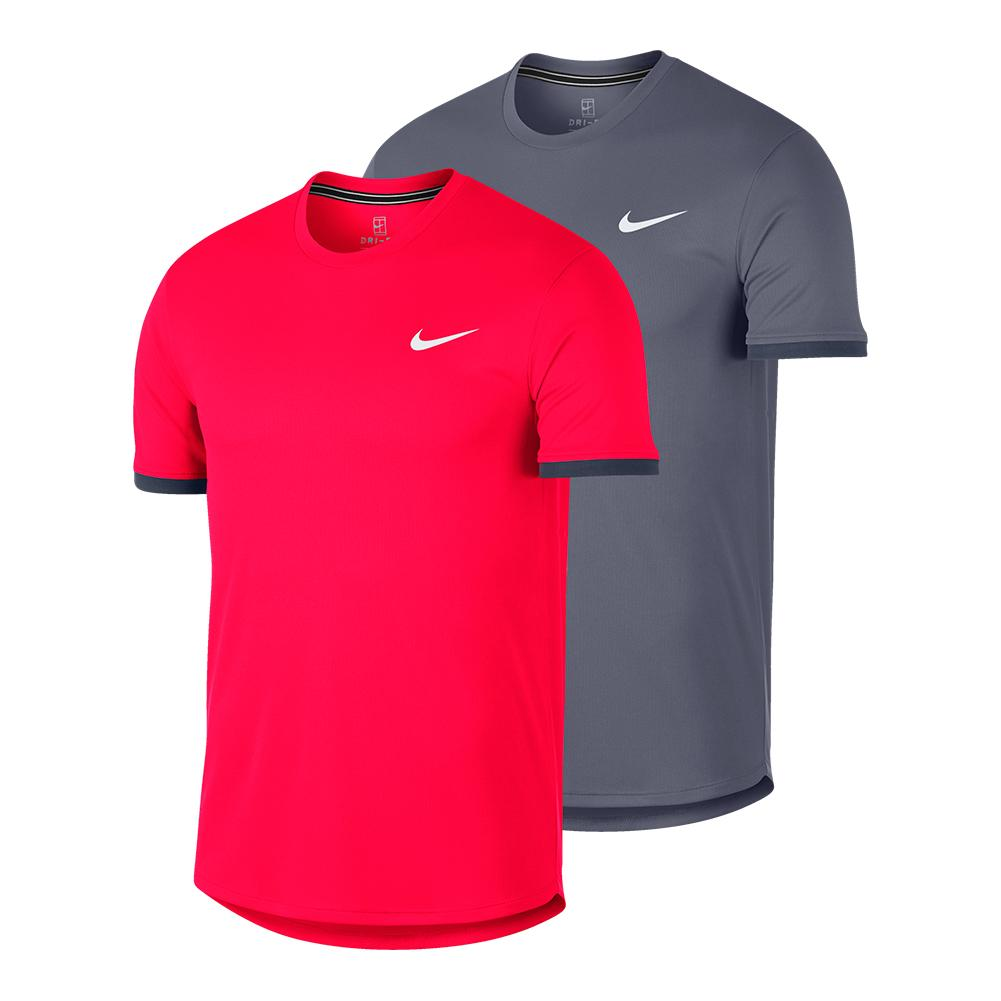 20341308f2185 Nike Men`s Court Dry Colorblock Short Sleeve Tennis Top