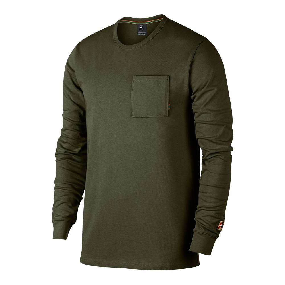 3371aceee3a ... Men`s Court Heritage Long Sleeve Tennis Top 395 OLIVE CANVAS ...