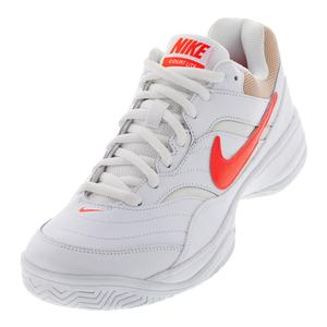 Men`s Court Lite Tennis Shoes White and Bright Crimson