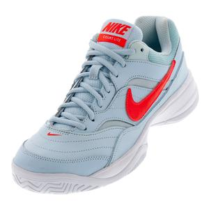 Women`s Court Lite Tennis Shoes Topaz Mist and Bright Crimson
