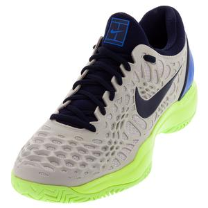 Men`s Zoom Cage 3 Tennis Shoes Vast Gray and Blackened Blue