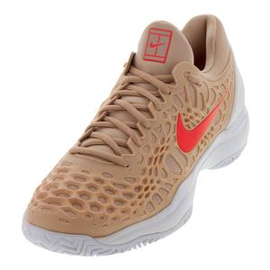 Men`s Zoom Cage 3 Tennis Shoes Bio Beige and Bright Crimson
