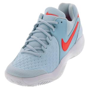 Women`s Air Zoom Resistance Tennis Shoes Topaz Mist and Bright Crimson
