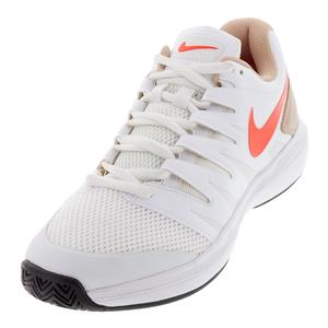 Men`s Air Zoom Prestige Tennis Shoes White and Bright Crimson